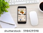 touch phone with app delivery... | Shutterstock . vector #598429598