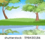 lake in nature scene vector... | Shutterstock .eps vector #598430186