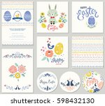 cute happy easter templates... | Shutterstock .eps vector #598432130