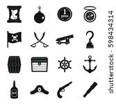 pirate icons set. simple... | Shutterstock . vector #598434314
