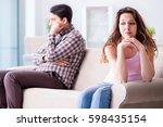 young family in broken... | Shutterstock . vector #598435154