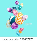 Composition of 3D Easter eggs. Holiday background. | Shutterstock vector #598437278