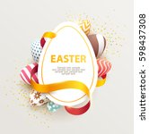 easter colorful poster with... | Shutterstock .eps vector #598437308