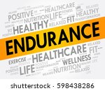 endurance word cloud  fitness ... | Shutterstock .eps vector #598438286