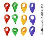 3d map pointer vector. colorful ... | Shutterstock .eps vector #598445456