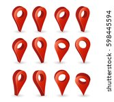 3d map pointer vector. set red...