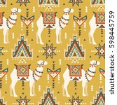 vector seamless pattern with... | Shutterstock .eps vector #598445759