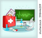 medicine concept. cartoon... | Shutterstock . vector #598446209