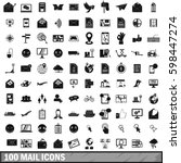 100 mail icons set in simple... | Shutterstock . vector #598447274