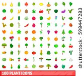 100 plant icons set in cartoon... | Shutterstock . vector #598447283