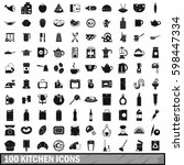 100 kitchen icons set in simple ... | Shutterstock . vector #598447334