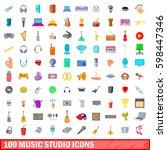 100 music studio icons set in... | Shutterstock . vector #598447346