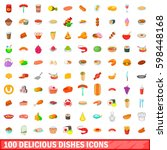 100 delicious dishes icons set... | Shutterstock . vector #598448168