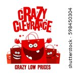 crazy clearance banner... | Shutterstock .eps vector #598450304