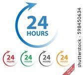24 hours vector icon set sign | Shutterstock .eps vector #598450634