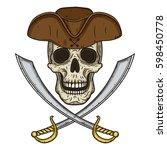 vector single cartoon pirate... | Shutterstock .eps vector #598450778