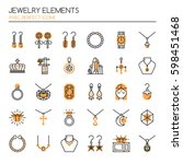 jewelry elements   thin line... | Shutterstock .eps vector #598451468