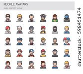 people avatars   thin line and... | Shutterstock .eps vector #598451474