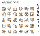 marketing elements    thin line ... | Shutterstock .eps vector #598451693