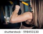 beautiful muscular woman doing... | Shutterstock . vector #598453130