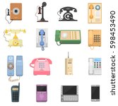 telephones vintage vector icons. | Shutterstock .eps vector #598453490