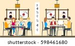 sushi bar restaurant. people... | Shutterstock .eps vector #598461680
