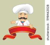 vector chef cook serving food... | Shutterstock .eps vector #598462028