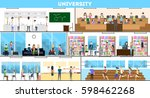 university interior set. campus ... | Shutterstock .eps vector #598462268
