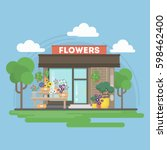 isolated flowers building.... | Shutterstock .eps vector #598462400