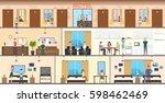 motel interior set. guest room  ... | Shutterstock .eps vector #598462469