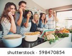 funny friends making face with... | Shutterstock . vector #598470854