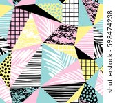 trendy seamless exotic pattern... | Shutterstock .eps vector #598474238