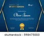 certificate of appreciation... | Shutterstock .eps vector #598475003