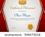 certificate of appreciation... | Shutterstock .eps vector #598475018