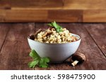 risotto with mushrooms  fresh... | Shutterstock . vector #598475900