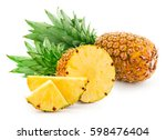 pineapple fruit with slices... | Shutterstock . vector #598476404