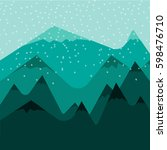 mountain with snow vector... | Shutterstock .eps vector #598476710