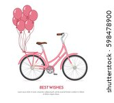 pink retro bicycle with...   Shutterstock .eps vector #598478900