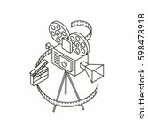 cinema  vector isometric... | Shutterstock .eps vector #598478918