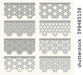 set of black lace seamless... | Shutterstock .eps vector #598485158