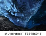 an ice cave inside vatnajokull...   Shutterstock . vector #598486046