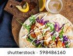 chicken kebab with vegetables...   Shutterstock . vector #598486160