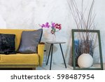 colorful sofa in modern rustic... | Shutterstock . vector #598487954