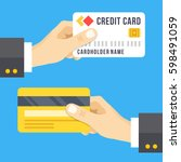 hand holding credit card set.... | Shutterstock .eps vector #598491059