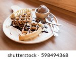 belgian waffles with fruit and... | Shutterstock . vector #598494368