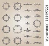 a huge rosette wicker border... | Shutterstock .eps vector #598497206