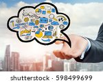 close up of businessman hand...   Shutterstock . vector #598499699