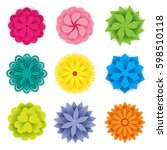 set of colorful paper flowers... | Shutterstock .eps vector #598510118