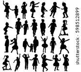 isolated  silhouette children ... | Shutterstock .eps vector #598512899