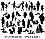 silhouette of mother playing... | Shutterstock .eps vector #598513058
